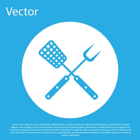 Crossed fork and spatula icon isolated on blue background. BBQ fork and spatula sign. Barbecue and grill tools. White circle button. Vector Illustration
