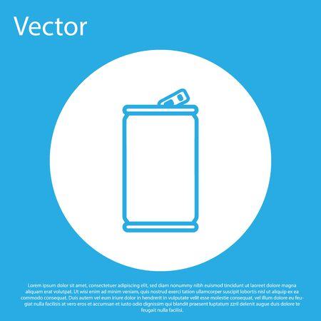 Blue Aluminum can icon isolated on blue background. White circle button. Vector Illustration