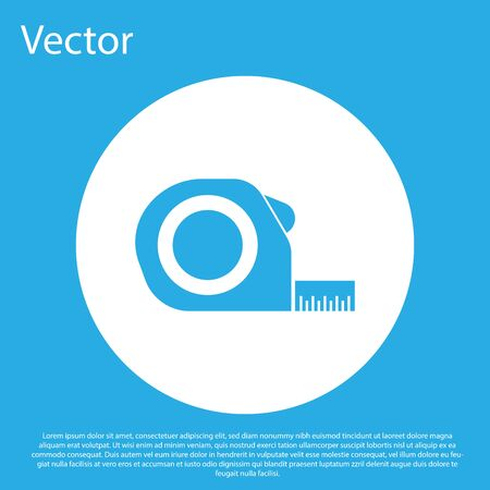 Blue Roulette construction icon isolated on blue background. Tape measure symbol. White circle button. Vector Illustration