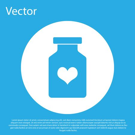 Blue Medicine bottle with pills for potency, aphrodisiac icon isolated on blue background. Sex pills for men and women. White circle button. Vector Illustration Stok Fotoğraf - 124847685