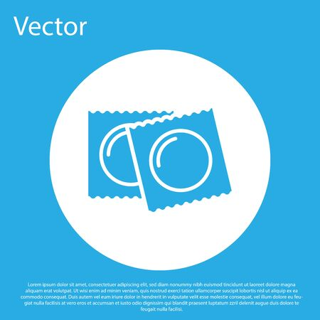 Blue Condoms in package safe sex icon isolated on blue background. Safe love symbol. Contraceptive method for male. White circle button. Vector Illustration