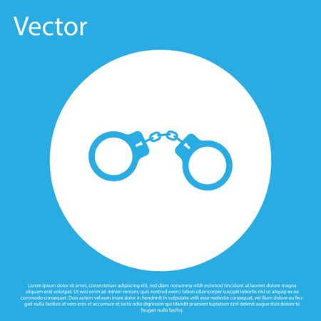 Blue Handcuffs icon isolated on blue background. White circle button.