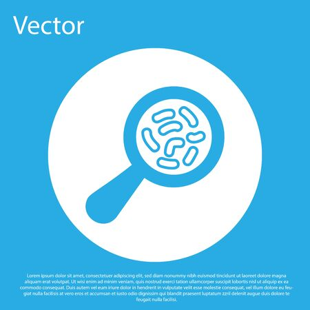 Blue Microorganisms under magnifier icon isolated on blue background. Bacteria and germs, cell cancer, microbe, virus, fungi. White circle button. Vector Illustration
