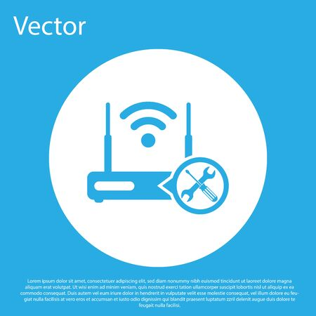 Blue Router wi-fi with screwdriver and wrench icon isolated on blue background. Adjusting, service, setting, maintenance, repair, fixing. White circle button. Vector Illustration