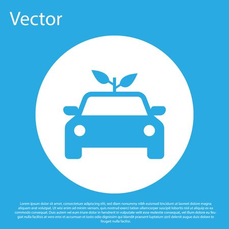 Blue Eco car concept drive with leaf icon isolated on blue background. Green energy car symbol. White circle button. Vector Illustration Çizim