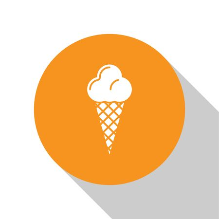 White Ice cream in waffle cone icon isolated on white background. Sweet symbol. Orange circle button. Vector Illustration Banque d'images - 124847760