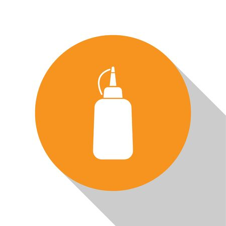 White Mustard bottle icon isolated on white background. Orange circle button. Vector Illustration