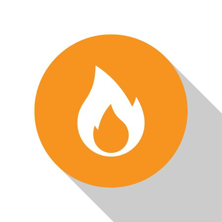 White Fire flame icon isolated on white background. Heat symbol. Orange circle button. Vector Illustration
