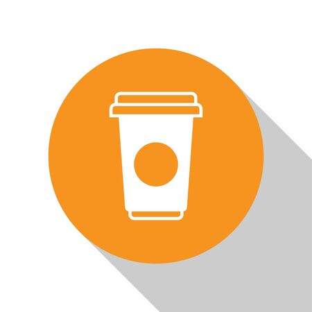 White Coffee cup icon isolated on white background. Disposable coffee cup with hot coffee. Orange circle button. Vector Illustration