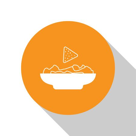 White Nachos in plate icon isolated on white background. Tortilla chips or nachos tortillas. Traditional mexican fast food. Orange circle button. Vector Illustration 向量圖像