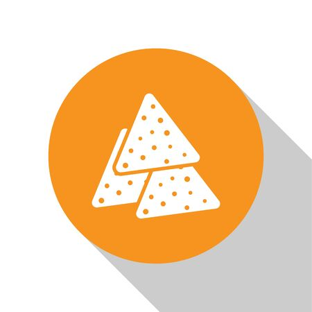 White Nachos icon isolated on white background. Tortilla chips or nachos tortillas. Traditional mexican fast food. Orange circle button. Vector Illustration 矢量图像