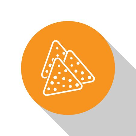 White Nachos icon isolated on white background. Tortilla chips or nachos tortillas. Traditional mexican fast food. Orange circle button. Vector Illustration Illustration