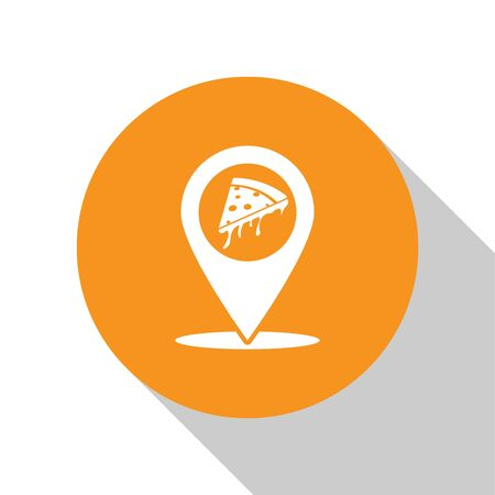 White Map pointer with fast food slice pizza icon isolated on white background. Pizzeria location icon. Pizza cafe and restaurant marker. Orange circle button. Vector Illustration 向量圖像