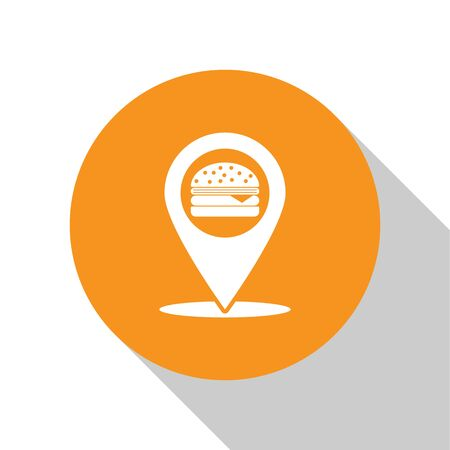 White Map pointer with fast food burger icon isolated on white background. Orange circle button. Vector Illustration