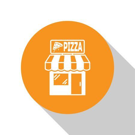 White Pizzeria building facade icon isolated on white background. Fast food pizzeria kiosk. Orange circle button. Vector Illustration 向量圖像