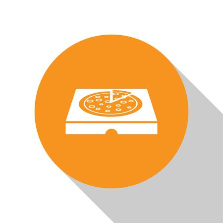 White Pizza in cardboard box icon isolated on white background. Box with layout elements. Orange circle button. Vector Illustration Illustration