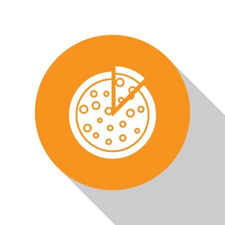 White Pizza icon isolated on white background. Orange circle button. Vector Illustration