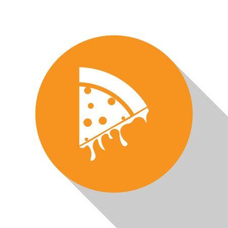 White Slice of pizza icon isolated on white background. Orange circle button. Vector Illustration