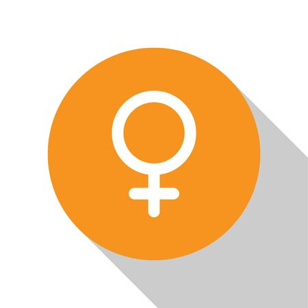 White Female gender symbol icon isolated on white background. Venus symbol. The symbol for a female organism or woman. Orange circle button. Vector Illustration