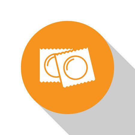 White Condoms in package safe sex icon isolated on white background. Safe love symbol. Contraceptive method for male. Orange circle button. Vector Illustration Illustration