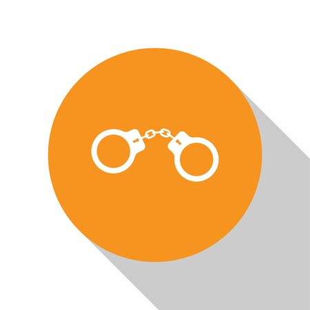 White Handcuffs icon isolated on white background. Orange circle button. Vector Illustration Illustration