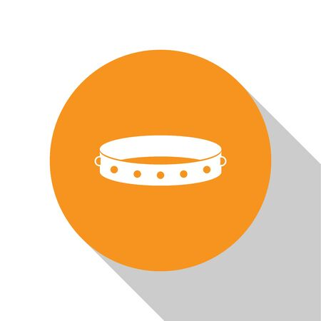 White Leather fetish collar with metal spikes on surface icon isolated on white background. Fetish accessory. Sex toy for men and woman. Orange circle button. Vector Illustration Illustration