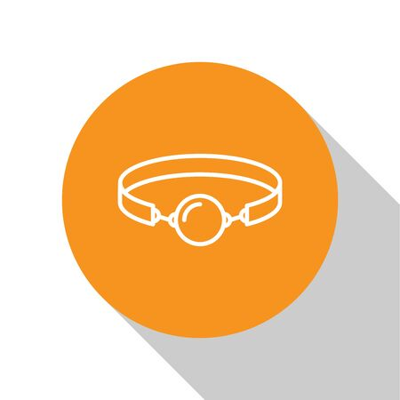 White Silicone ball gag with a leather belt icon isolated on white background. Fetish accessory. Sex toy for men and woman. Orange circle button. Vector Illustration