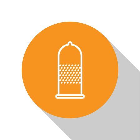 White Condom safe sex icon isolated on white background. Safe love symbol. Contraceptive method for male. Orange circle button. Vector Illustration