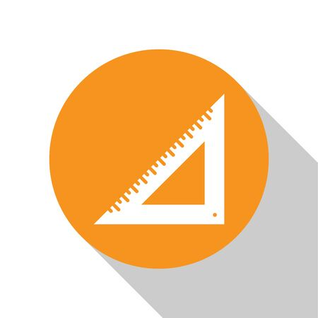 White Triangular ruler icon isolated on white background. Straightedge symbol. Geometric symbol. Orange circle button. Vector Illustration Illustration