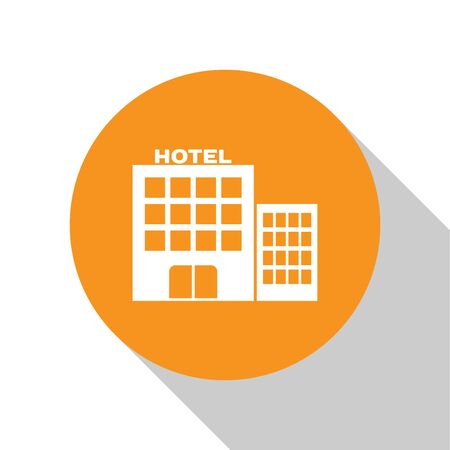 White Hotel building icon isolated on white background. Orange circle button. Vector Illustration Çizim