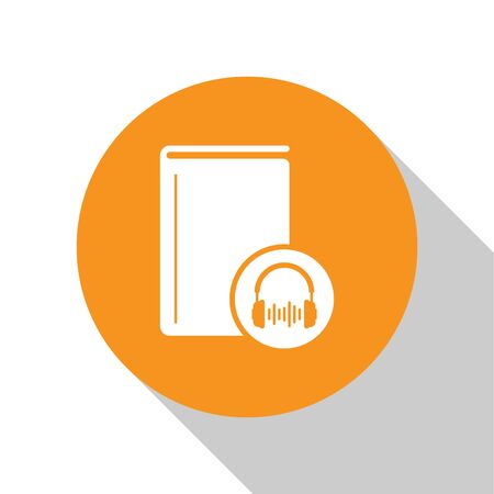 White Audio book icon isolated on white background. Book with headphones. Audio guide sign. Online learning concept. Orange circle button. Vector Illustration Banque d'images - 125028864