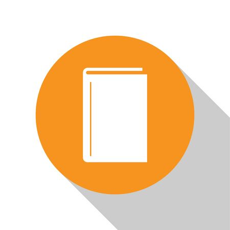 White Book icon isolated on white background. Orange circle button. Vector Illustration Banque d'images - 125028865