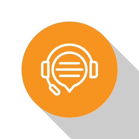 White Headphones with speech bubble chat icon isolated on white background. Support customer service, hotline, call center, faq, maintenance. Orange circle button. Vector Illustration Stock Vector - 124848167