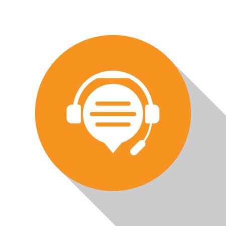 White Headphones with speech bubble chat icon isolated on white background. Support customer service, hotline, call center, faq, maintenance. Orange circle button. Vector Illustration