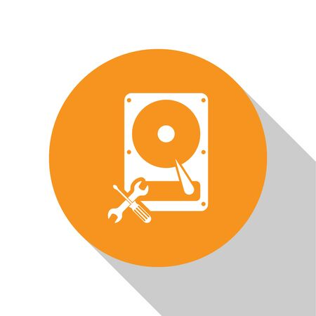 White Hard disk drive with screwdriver and wrench icon isolated on white background. Adjusting, service, setting, maintenance, repair, fixing. Orange circle button. Vector Illustration