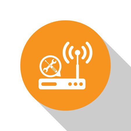 White Router wi-fi with screwdriver and wrench icon isolated on white background. Adjusting, service, setting, maintenance, repair, fixing. Orange circle button. Vector Illustration Illustration
