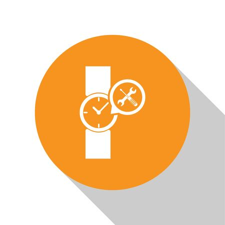 White Wrist watch with screwdriver and wrench icon isolated on white background. Adjusting, service, setting, maintenance, repair, fixing. Orange circle button. Vector Illustration