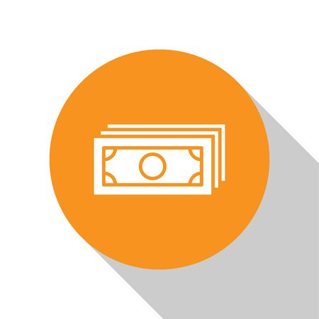 White Stacks paper money cash icon isolated on white background. Money banknotes stacks. Bill currency. Orange circle button. Flat design. Vector Illustration
