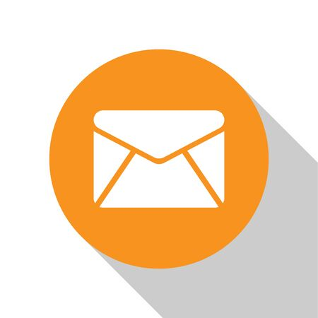 White Envelope icon isolated on white background. Email message letter symbol. Orange circle button. Flat design. Vector Illustration