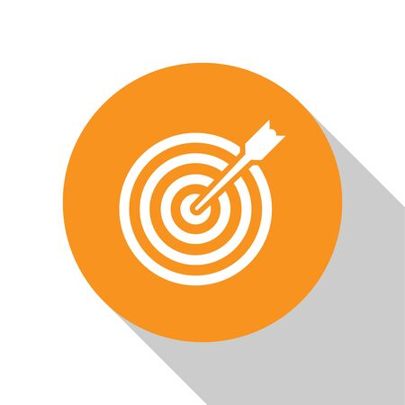 White Target with arrow icon isolated on white background. Dart board sign. Archery board icon. Dartboard sign. Business goal concept. Orange circle button. Flat design. Vector Illustration