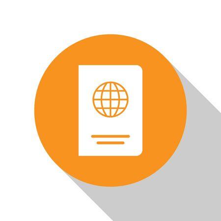 White Passport with biometric data icon isolated on white background. Identification Document. Orange circle button. Flat design. Vector Illustration Illustration