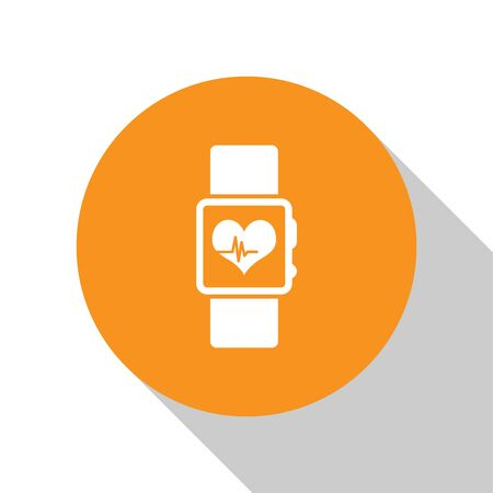 White Smart watch showing heart beat rate icon isolated on white background. Fitness App concept. Orange circle button. Flat design. Vector Illustration Illustration