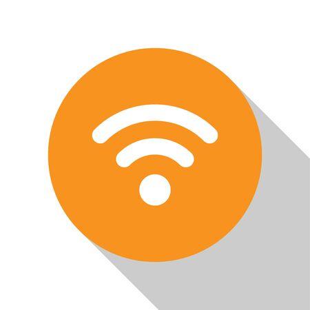 White Wi-Fi wireless internet network symbol icon isolated on white background. Orange circle button. Flat design. Vector Illustration Illustration