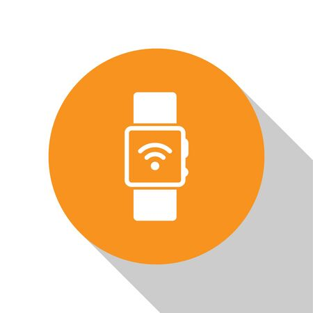 White Smartwatch with wireless symbol icon isolated on white background. Orange circle button. Flat design. Vector Illustration