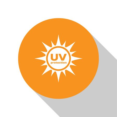 White UV protection icon isolated on white background. Ultra violet rays radiation. SPF sun sign. Orange circle button. Flat design. Vector Illustration