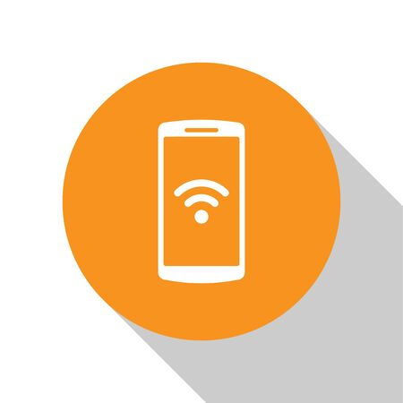 White Smartphone with free wi-fi wireless connection icon on white background. Wireless technology, wi-fi connection, wireless network, hotspot concepts. Orange circle button. Vector Illustration