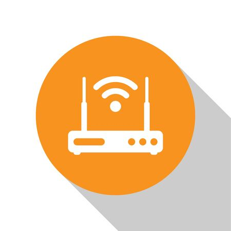 White Router and wi-fi signal symbol icon isolated on white background. Wireless  modem router. Computer technology internet. Orange circle button. Flat design. Vector Illustration Illustration