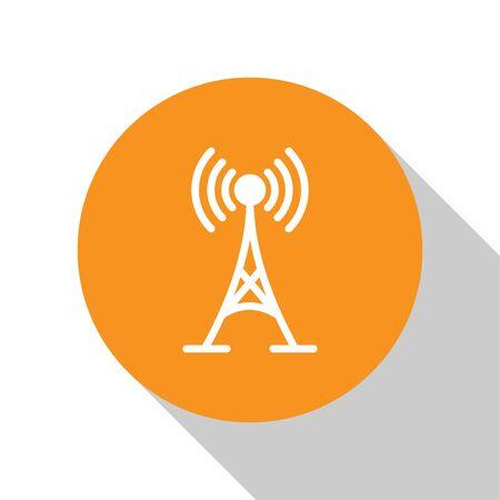White Antenna icon isolated on white background. Radio antenna wireless. Technology and network signal radio antenna. Orange circle button. Flat design. Vector Illustration Stock Vector - 124846111