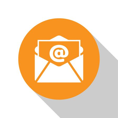 White Mail and e-mail icon isolated on white background. Envelope symbol e-mail. Email message sign. Orange circle button. Flat design. Vector Illustration