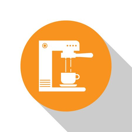White Coffee machine and coffee cup icon isolated on white background. Orange circle button. Flat design. Vector Illustration